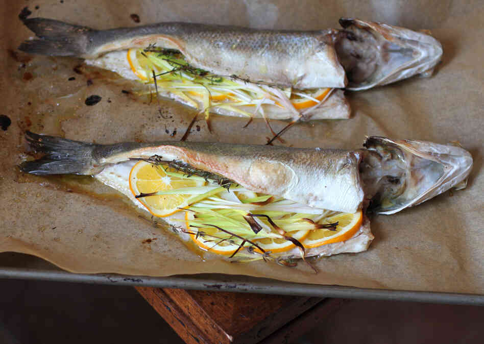 recipe roasted branzino stuffed with leeks and meyer