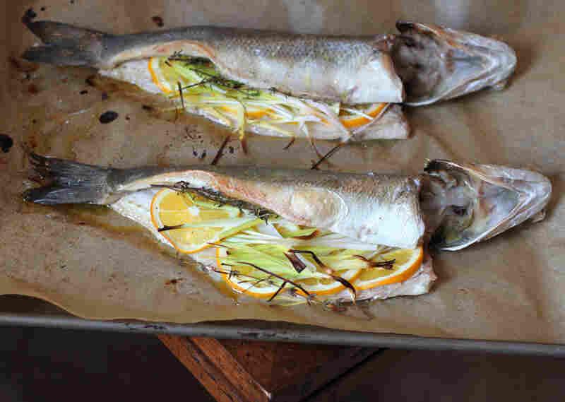 Roasted Branzino Stuffed With Leeks And Meyer Lemons