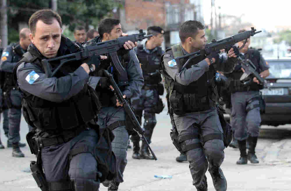 Police during an operation against gangs in Rio de Janeiro's Complexo do Alemao slum
