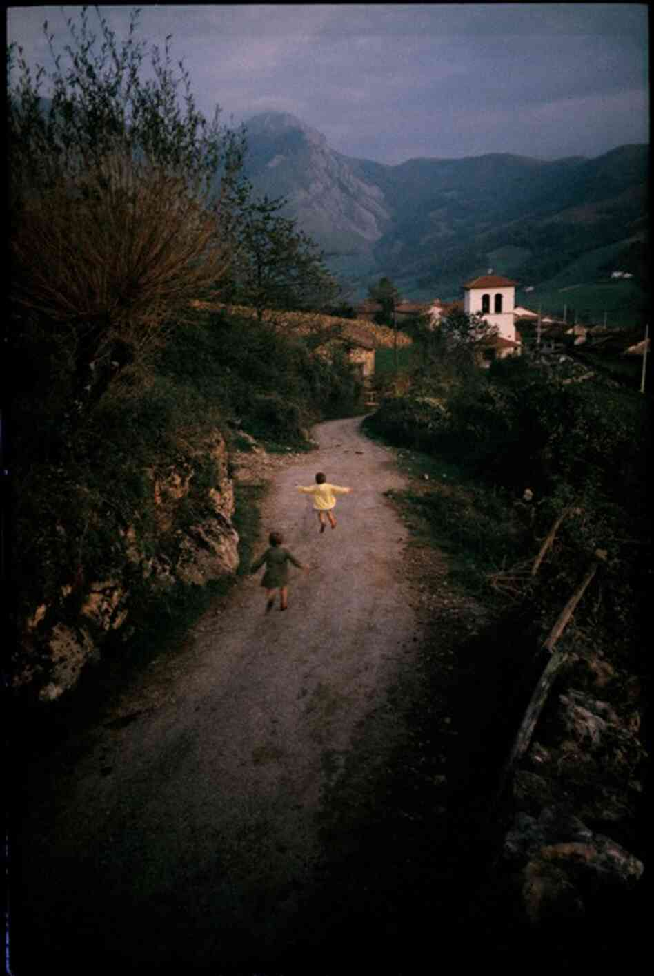 Girls running home, France, 1967