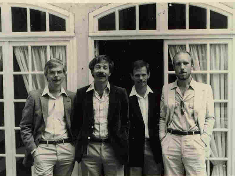 Ed Jackson, Gerald Hannon, Bill Lewis and Robert Trow during a trip to France in the early 1980s