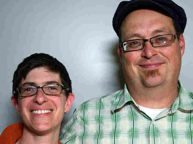 Stefan Lynch Strassfeld and his friend Beth Teper at StoryCorps in San Francisco
