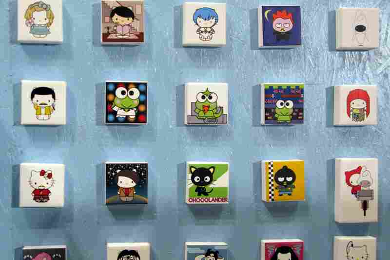 Plasticgod, a Los Angeles artist, created Candy Store with individual characters on little blocks.