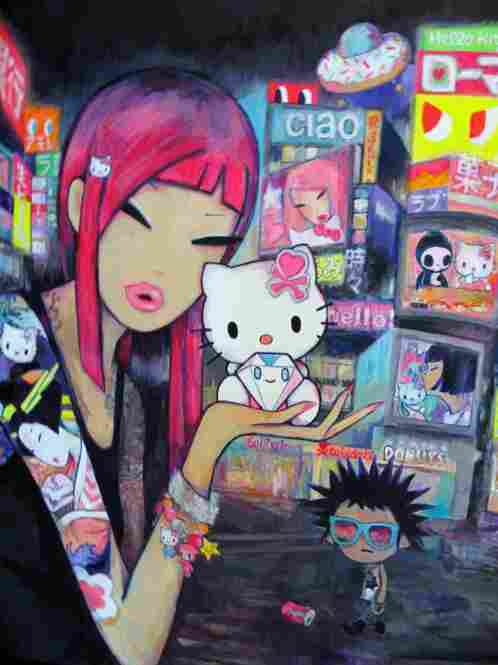 "For its 50th anniversary celebration, Sanrio celebrated in Los Angeles with a ""Kitty in Pink"" retro-'80s prom party, a carnival and an art exhibition. Simone Legno, the creatar of tokidoki, a website of Japanese character style design, contributed this piece to the show."