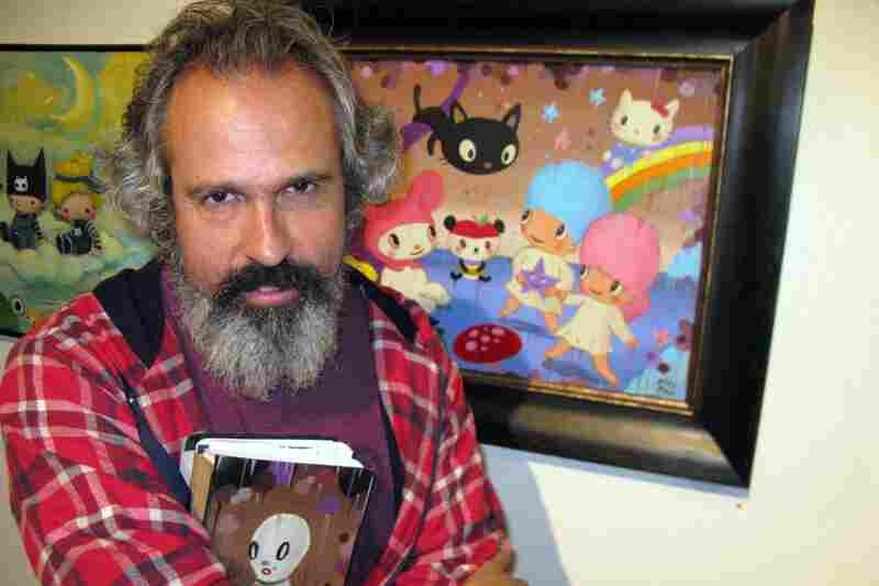 "Artist Gary Baseman notes his art is often ""drippy.""  He tried to bring many characters together in his Sanrio contribution."