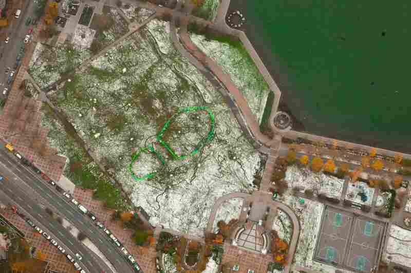 "An aerial view of Vancouver, Canada shows a giant ""footprint."""