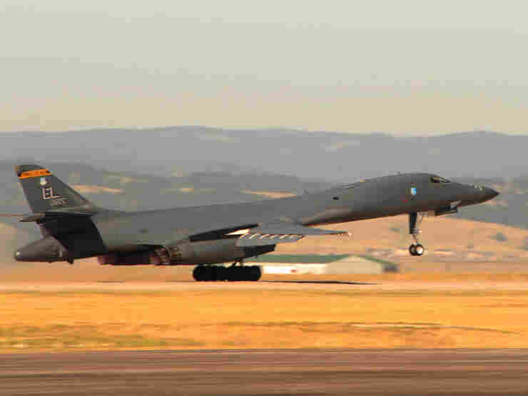 A B-1B Lancer bomber takes off at Ellsworth Air Base during a training exercise this August.