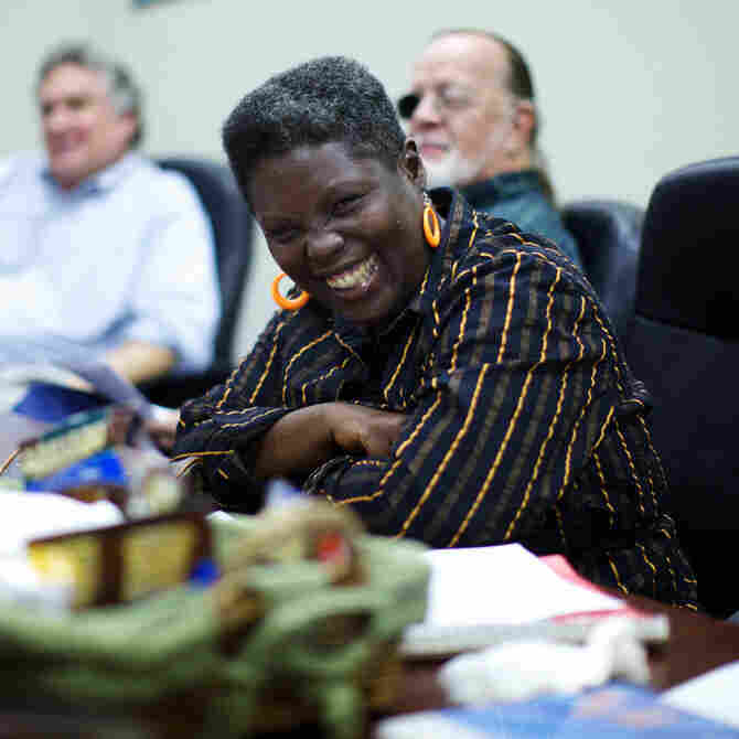 Lois Curtis smiles during a meeting with her friends and supporters.