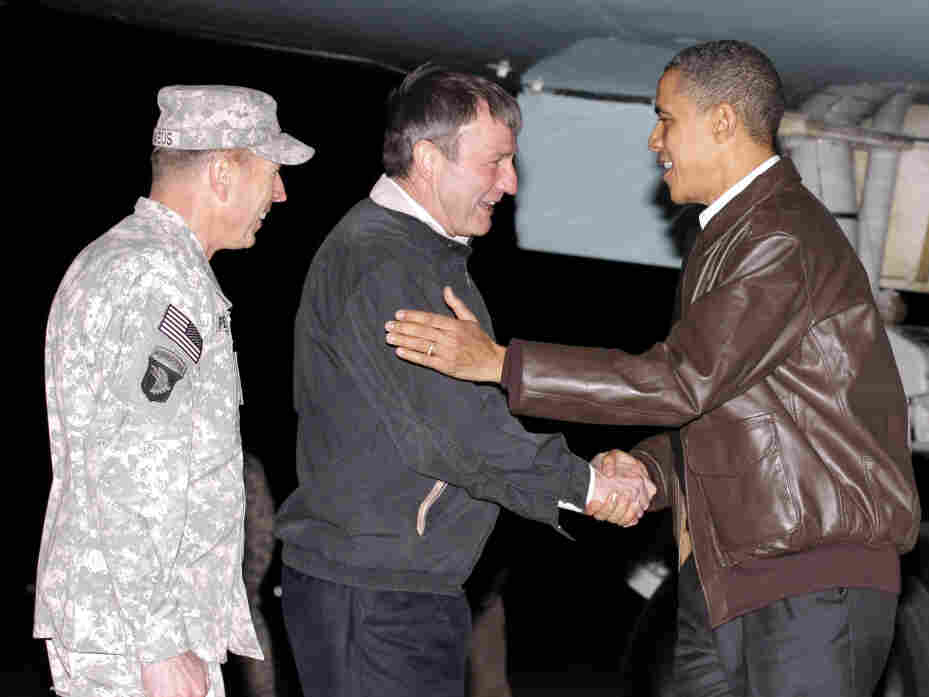 L-R: Gen. David Petraeus, Amb. Karl Eikenberry and President Obama.