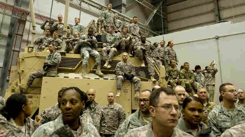 Soldiers from the 101st Airborne wait for the president.