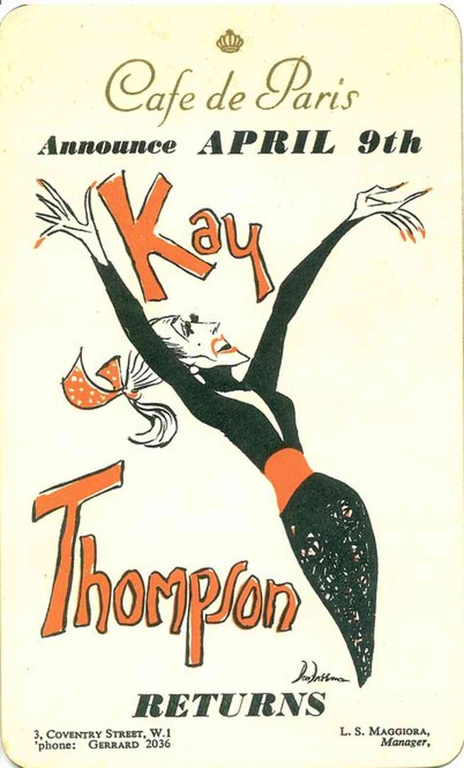 Thompson's advertising card for her engagement at London's Cafe de Paris in 1951.