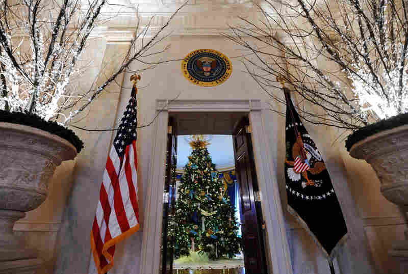 A Christmas tree in the Blue Room of the White House.