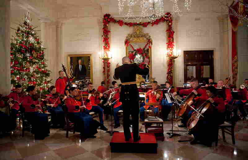 The U.S. Marine Chamber Orchestra performs in the Grand Foyer during a Hanukkah reception hosted by President Obama at the White House on Thursday.