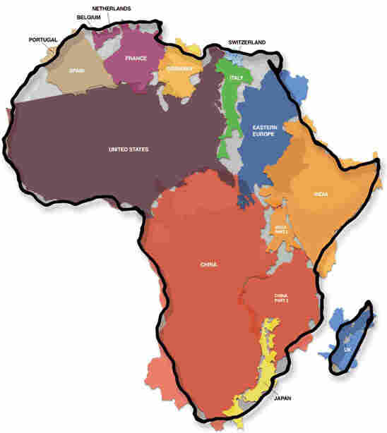 Map of Africa showing the relative size of countries