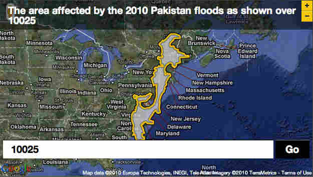 Pakistan flood plotted over zip code 10025