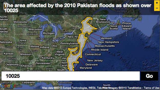 Pakistan flood plotted over zip code 10025