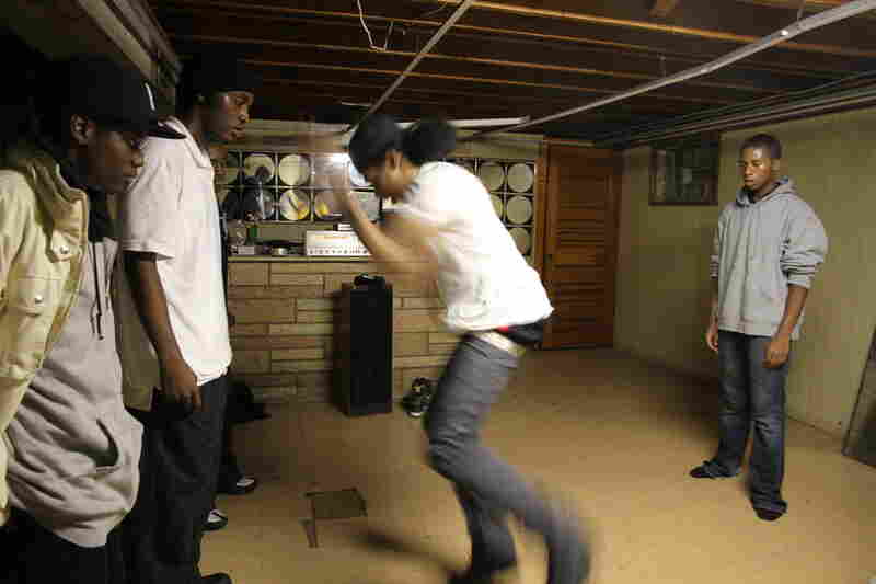 Footworking dance group Terrorsquad practices on a Tuesday in a basement on the Southside.