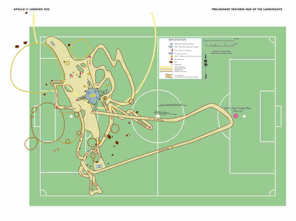 Map of lunar excursion plotted on a soccer field