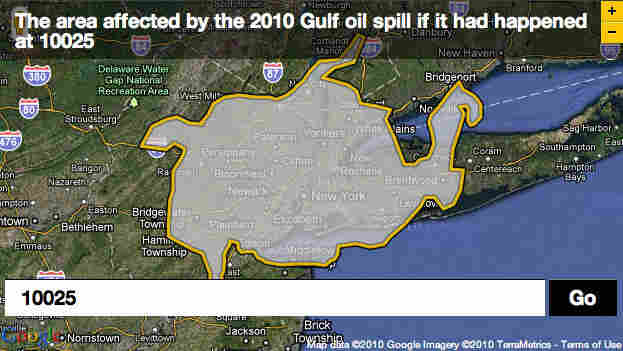 Oil spill plotted over zip code 10025