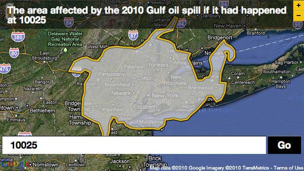 Oil spill plotted over zip code 10025