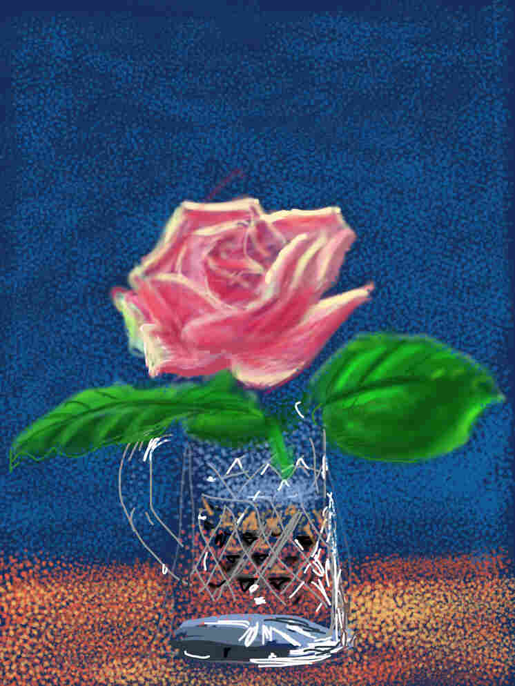 A dusk-pink rose in a crystal jug on a dark-blue background