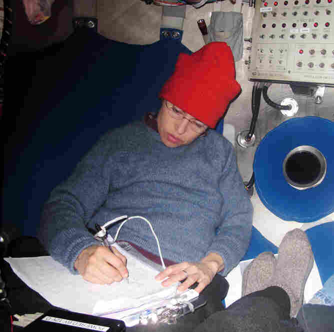 Samantha Joye, a professor of marine sciences at the University of Georgia, records data while aboard the Alvin. On this dive, about 10 miles from BP's Macondo well, she collected samples of sediment on the seafloor.