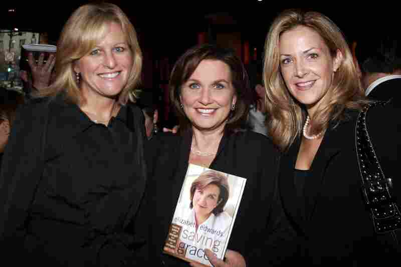 Edwards poses with Lori Burgess of Niche Media (left) and publisher Paige Bishop at the Capitol File celebration for Edwards' new book, Saving Graces, on Oct. 6, 2006, in Washington.