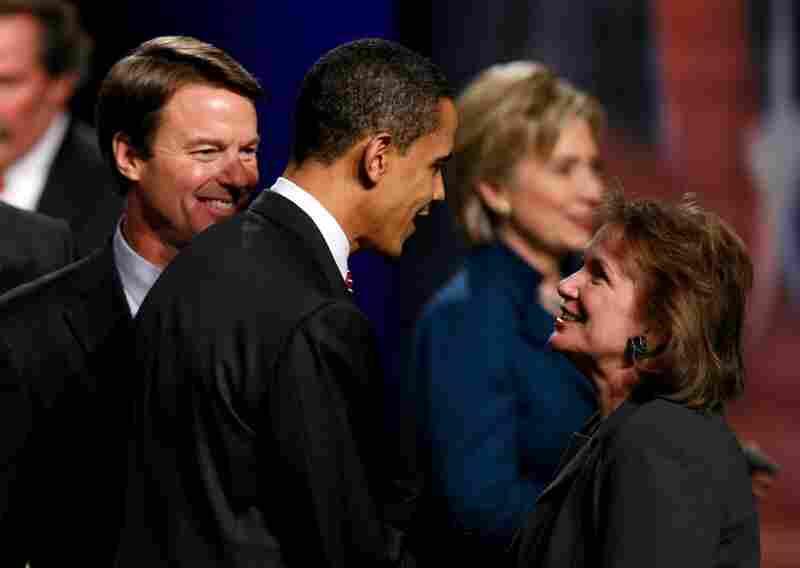 Democratic presidential hopeful Sen. Barack Obama greets Elizabeth Edwards before the Des Moines Register debate in Johnston, Iowa, Dec. 13, 2007.