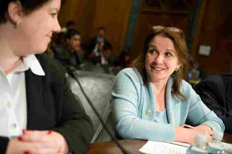 Elizabeth Edwards was a senior fellow at the Center for American Progress. Here, she speaks with fellow witness Kerry Burns prior to testifying on medical debt and bankruptcy on Capitol Hill in Washington, D.C., on Oct. 20, 2009.