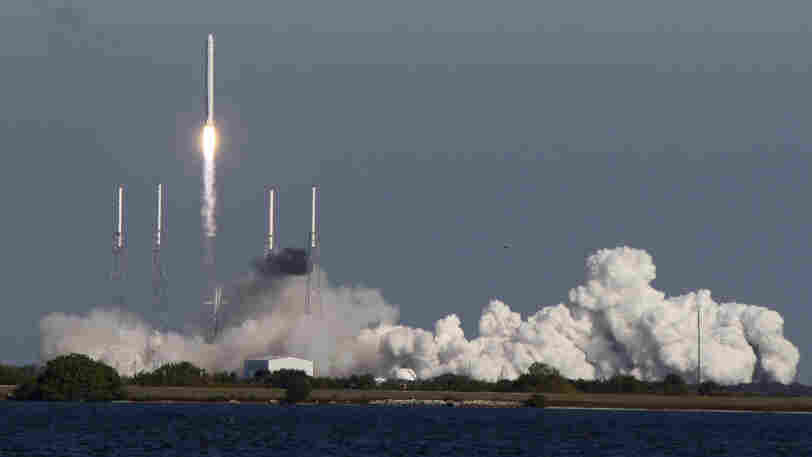 The SpaceX Falcon 9 rocket lifts off from the Cape Canaveral Air Force Station in Florida.