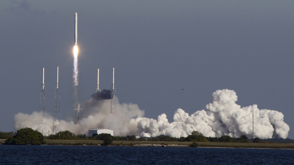 The SpaceX Falcon 9 rocket lifts off Wednesday from the Cape Canaveral Air Force Station in Florida.
