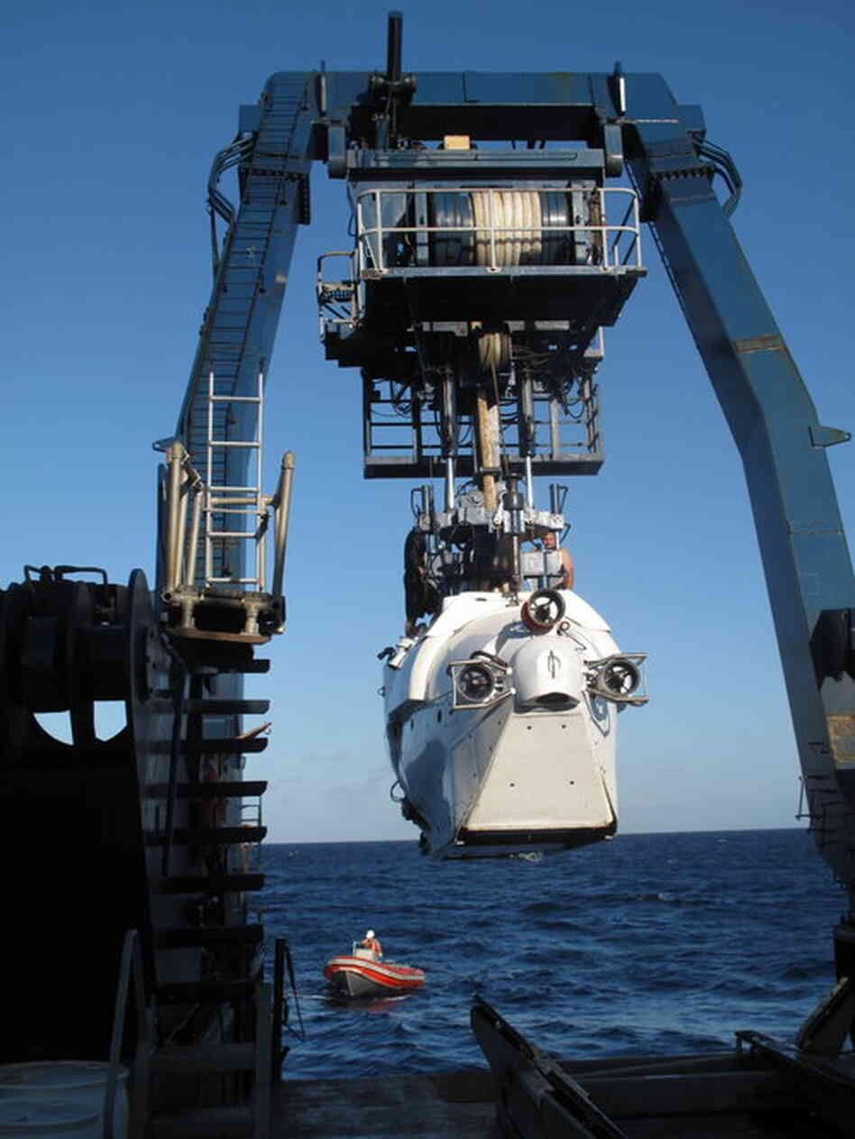 The Alvin submarine is launched earlier this month from the research vessel Atlantis, a ship operated by the Woods Hole Oceanographic Institution. Scientists on the expedition were exploring unusual biological ecosystems in the Gulf of Mexico and are trying to understand the ef