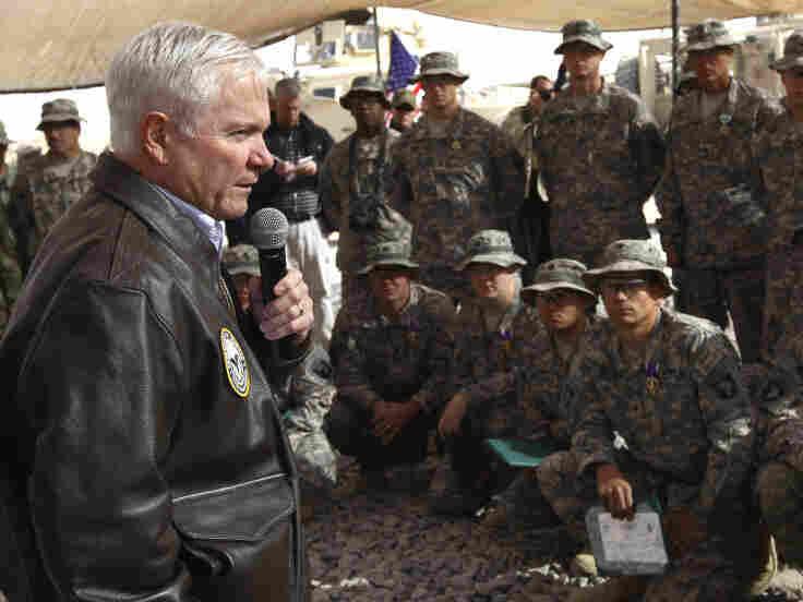 Defense Robert Gates addresses U.S. troops at their forward operating base in Kandahar province.