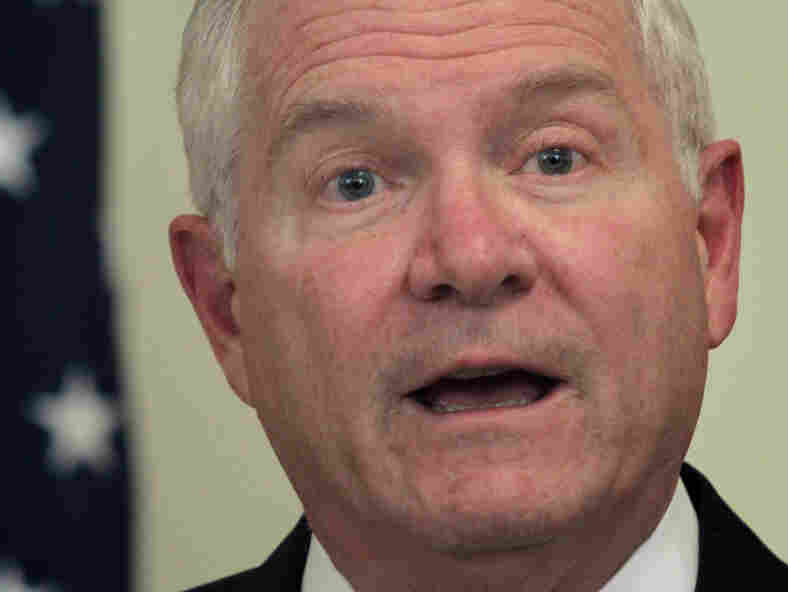 Defense Secretary Robert Gates speaks during a  news conference in Kabul on Wednesday.