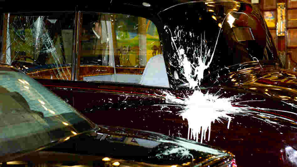 Prince Charles and Camilla's car after the attack.
