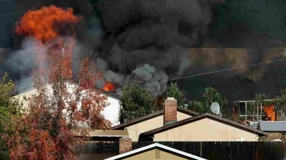 """Escondido, Calif., """"bomb factory"""" is burned; Dec. 9, 2010."""