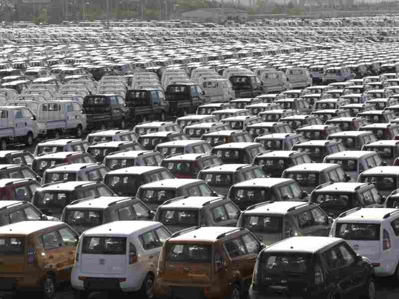 IA Motor automobiles wait to be shipped to foreign countries at a port in Gunsan, South Korea.