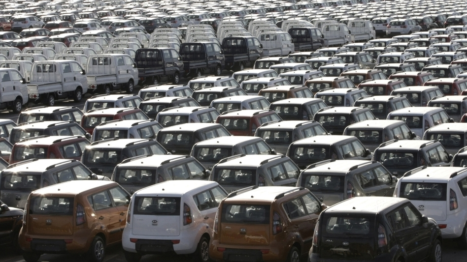 KIA Motor automobiles wait to be shipped to foreign countries at a port  in Gunsan, South Korea. Last year, South Korean automakers sold about 500,000 vehicles in the U.S., while U.S. auto companies sold 6,000 in South Korea. But a new free trade deal seeks to correct the imbalance.