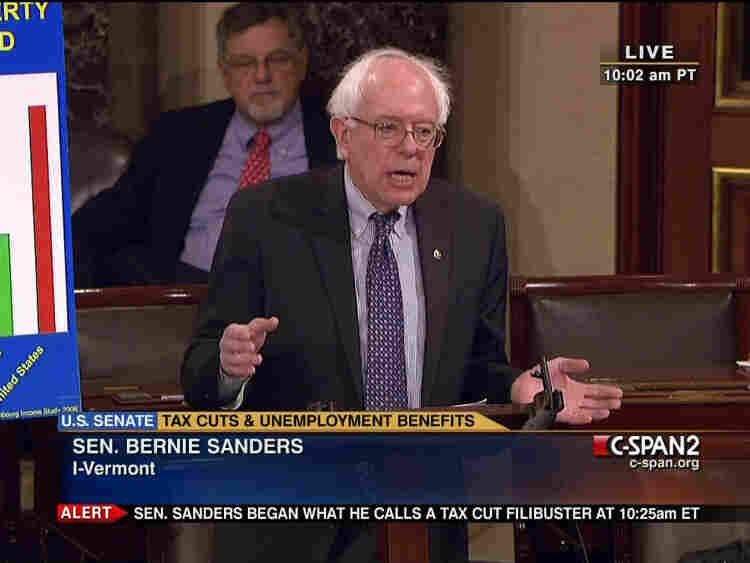 Screengrab image of Sen. Bernard Sanders, I-VT; Dec. 10, 2010.
