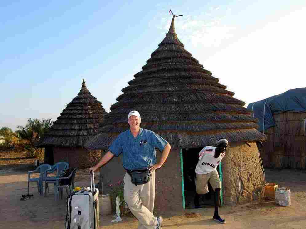 "NPR's Frank Langfitt at the ""airport"" in Agok, Southern Sudan."