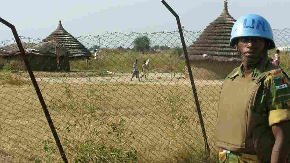 A U.N. peacekeeper stands guard in Abyei last month.