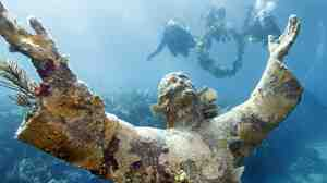 The Christ of the Abyss under water.