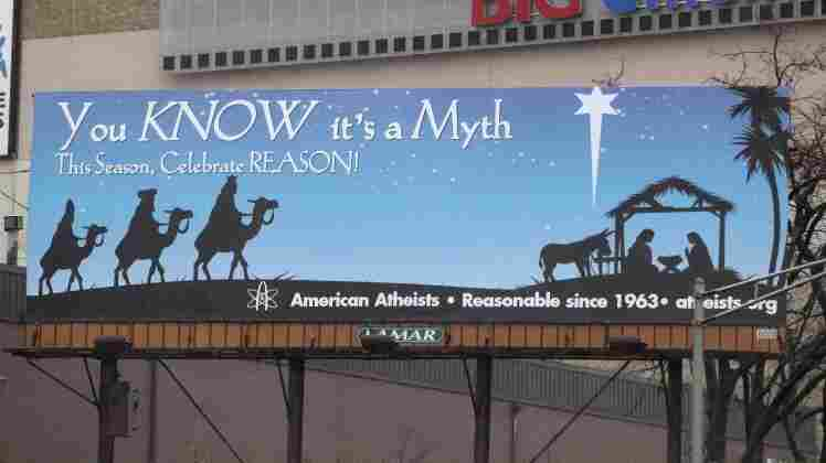 The billboard sponsored by American Atheists. Seth Wenig/AP