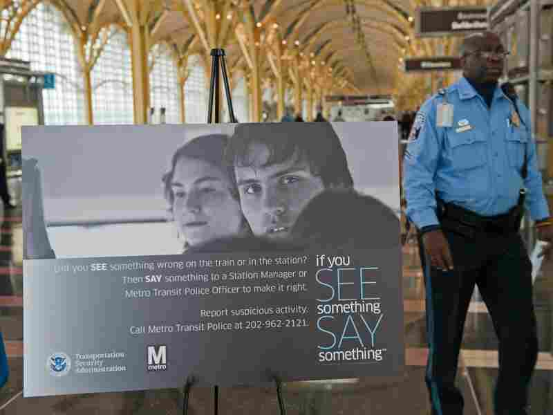 "A sign from the ""If You See Something, Say Something"" campaign. Paul J. Richards/AFP/Getty Images"