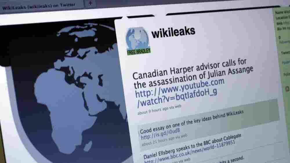 A screen shot of WikiLeaks' Twitter page