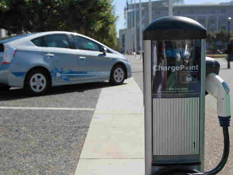An electric vehicle charging station near San Francisco city hall