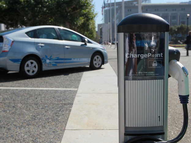 An electric vehicle charging station in San Francisco. With sales of electric and plug-in hybrid cars expected to increase in coming years, a regional agency has set aside $5 million to increase the number of electric car charging stations to 5,000 around the Bay Area, up from 120 currently.