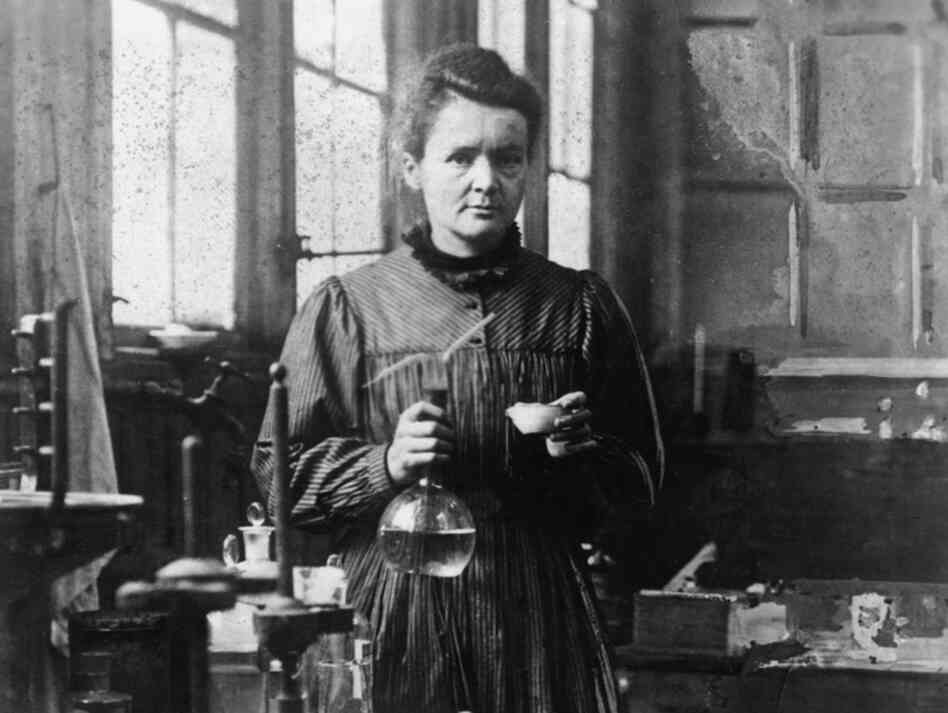 Madame Curie in her lab.