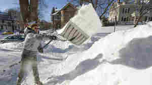 Larry Myer of Minneapolis shoveled on Sunday.