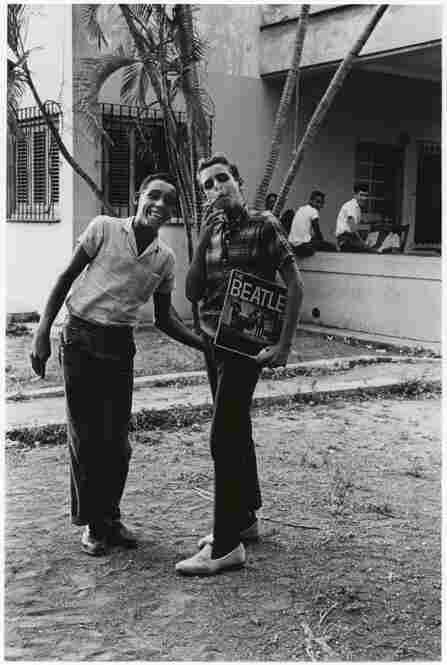 Two boys pose with the latest Beatles album, Vedado, Havana, 1965